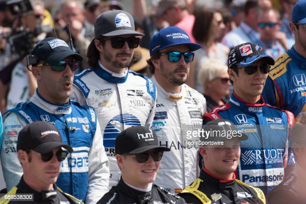 Tony Kanaan JR Hildebrand Fernando Alonso and race winner Takuma Sato prior to the 101st Indianapolis 500 on May 28 at the Indianapolis Motor...