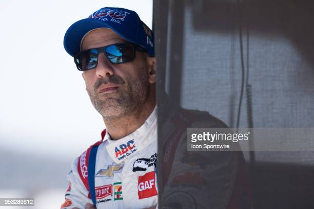 Tony Kanaan looking on from his pit box during an Open Test on April 30 at the Indianapolis Motor Speedway in Indianapolis IN