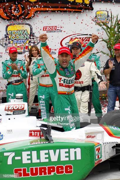 Tony Kanaan of Brazil driver of the 7Eleven Andretti Autosports Dallara Honda celebrates in victory lane following his win at the IRL Indycar Series...