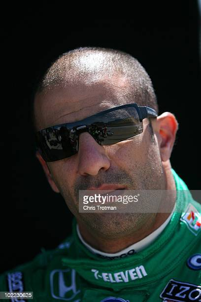 Tony Kanaan of Brazil driver of the 7Eleven Andretti Autosports Dallara Honda during practice for the IRL Indycar Series Iowa Corn Indy 250 on June...