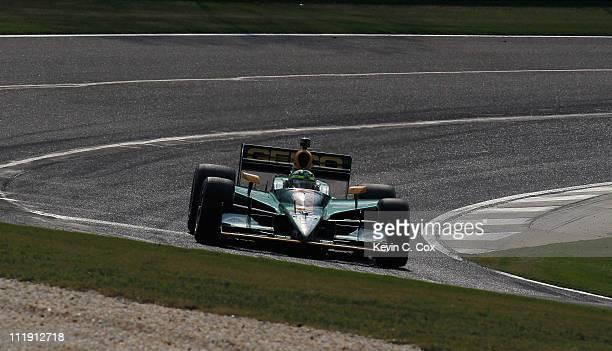 Tony Kanaan of Brazil, driver of the KV Racing Technology-Lotus Dallara Honda, drives during practice for the IndyCar Series Honda Indy Grand Prix of...