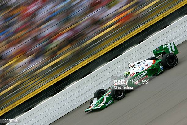 Tony Kanaan of Brazil drives the 7Eleven Andretti Autosports Dallara Honda during the IRL Indycar Series Iowa Corn Indy 250 on June 20 2010 in Newton...