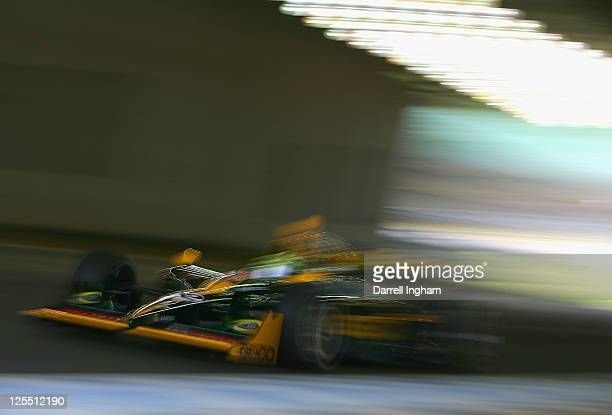 Tony Kanaan of Brazil drives the GEICO KV Racing Dallara Honda during the Indy Japan 300 The Final on the road course at the Twin Ring Motegi on...