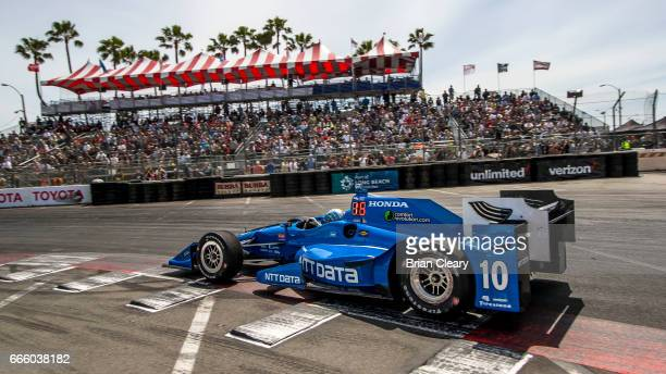 Tony Kanaan of Brazil drives the Honda IndyCar on the track during practice for the Grand Prix At Long Beach on April 7 2017 in Long Beach California