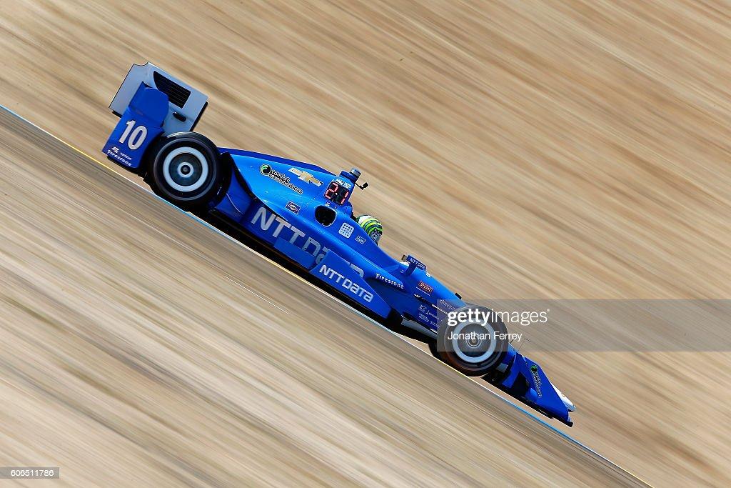 Tony Kanaan of Brazil drives the #10 NTT Data Chip Ganassi Racing Chevrolet Dallara during practice for the GoPro Grand Prix of Sonoma at Sonoma Raceway on September 16, 2016 in Sonoma, California.