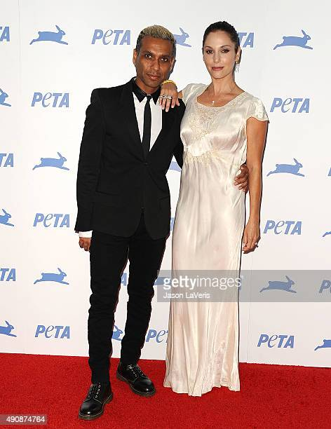 Tony Kanal and wife Erin Lokitz attend PETA's 35th anniversary party at Hollywood Palladium on September 30 2015 in Los Angeles California