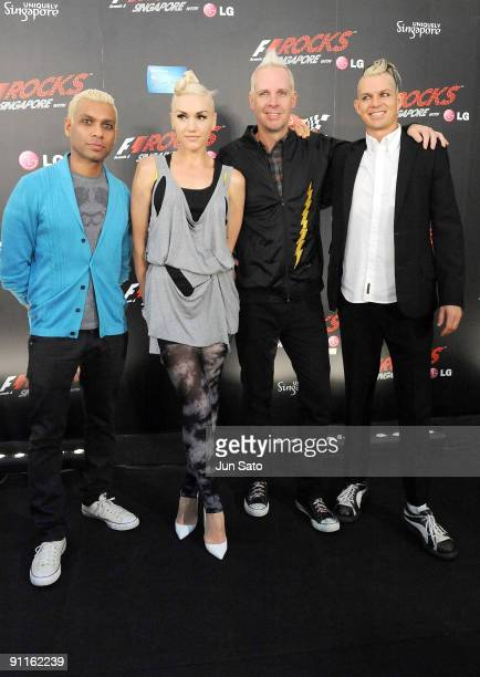 Tony Kanal, Gwen Stefani, Tom Dumont and Adrian Young of No Doubt attend a photo call on the second day of the three day F1 Rocks Singapore concert...