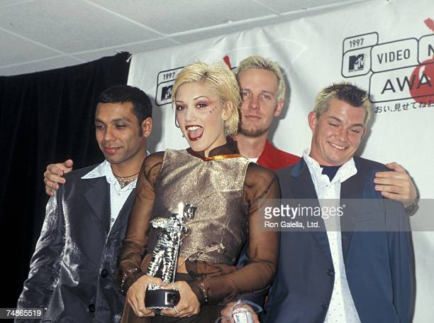 Tony Kanal Gwen Stefani Tom Dumont and Adrien Young of No Doubt at the Radio City Music Hall in New York City New York