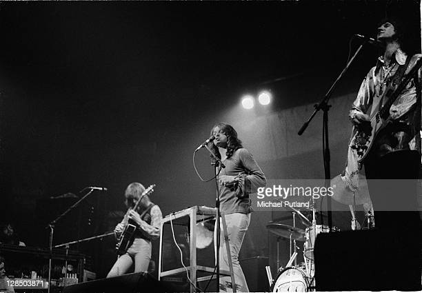 Tony Kaye Steve Howe John Anderson and Chris Squire of Yes perform on stage at the Camden Festival The Roundhouse London 25th April 1971