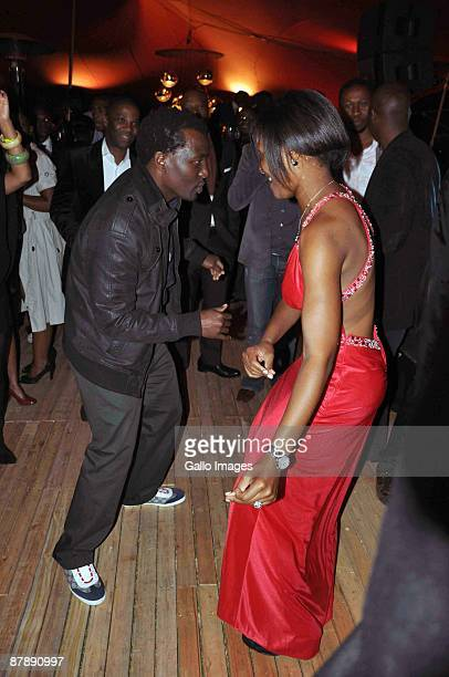 Tony Kgoroge dances with Dudu Zuma as they celebrate Dudu's 27th Birthday at the upmarket Inanda Club on 19 May 2009 in Sandton South Africa Dudu...