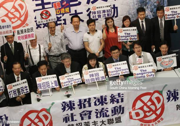 Tony Kwok Takleung Shih Wingching Chu Kinlan Piere Wong Raymond Ho Mankit and Anthony Kwok attends a press conference with an alliance against the...