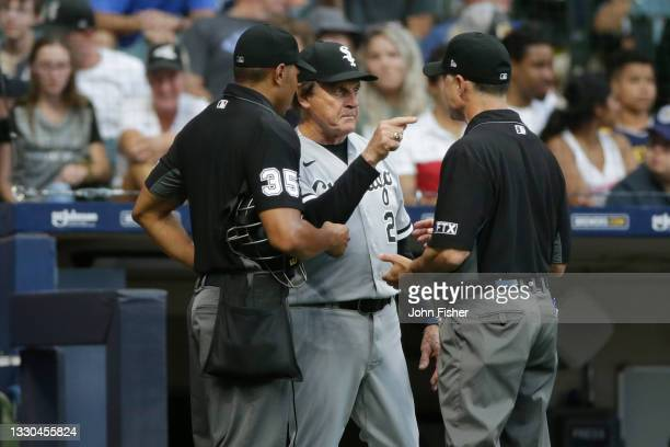 Tony La Russa of the Chicago White Sox argues a call with umpires in the fifth inning against the Milwaukee Brewers at American Family Field on July...