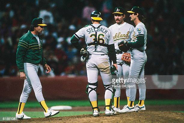 Tony LaRussa walks to the pitcher's mound to relieve Gene Nelson during game 4 of the World Series against the San Francisco Giants at Candlestick...