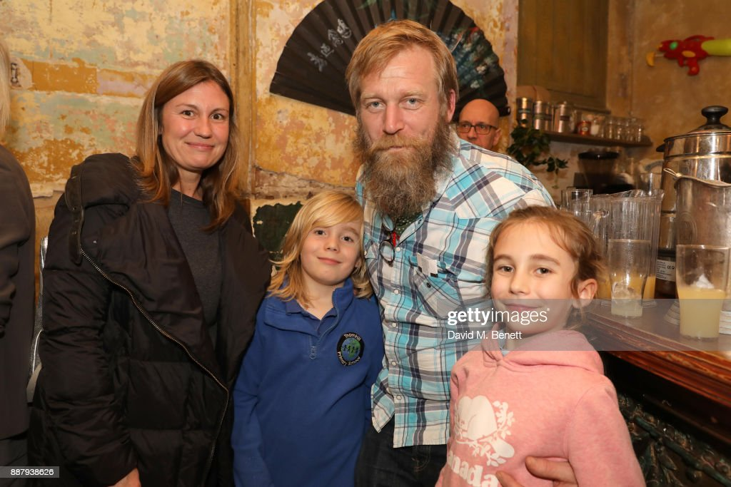 Tony Law (third right) and family attend a drinks reception during the press night performance of 'The Box Of Delights' at Wilton's Music Hall on December 7, 2017 in London, England.