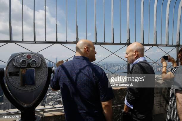 Tony Leondis and Sir Patrick Stewart speak as The Emoji Movie celebrates World Emoji Day at Empire State Building at The Empire State Building on...