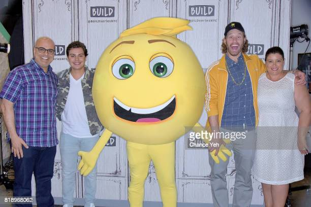 Tony Leondis Jake T Austin Gene the emoji TJ Miller and Michelle Raimo Kouyate attend Build series to discuss their new movie 'The Emoji Movie' at...