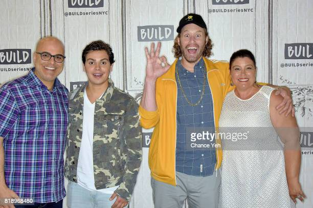 Tony Leondis Jake T Austin TJ Miller and Michelle Raimo Kouyate attend Build series to discuss their new movie 'The Emoji Movie' at Build Studio on...