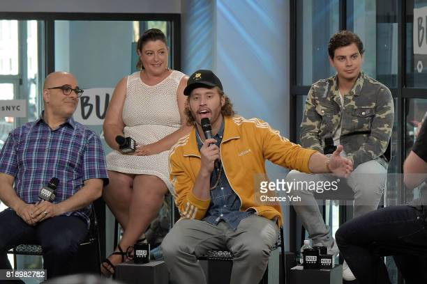 Tony Leondis Michelle Raimo Kouyate TJ Miller and Jake T Austin attend Build series to discuss their new movie 'The Emoji Movie' at Build Studio on...