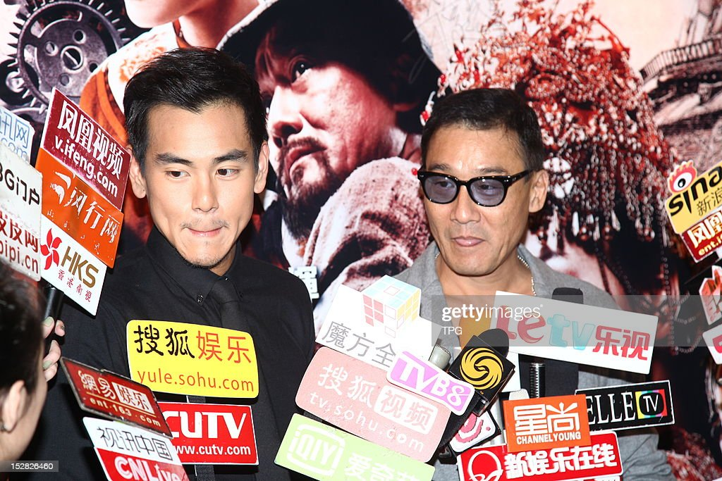 Tony Leung and Eddie Peng attends press conference of Taichi 0 on September 26, 2012 in Hong Kong, China.