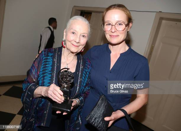 Tony Lifetime Achievement Winner Rosemary Harris and daughter Jennifer Ehle pose in the press room for The 2019 Annual Tony Awards at Radio City...