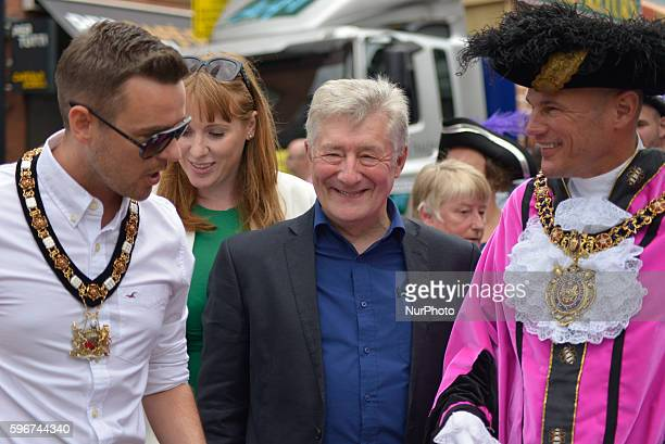 Tony Lloyd Greater Manchester Police and Crime Commisioner Carl AustinBehan Lord Mayor of Manchester attending the Manchester Pride Parade 2016 on...