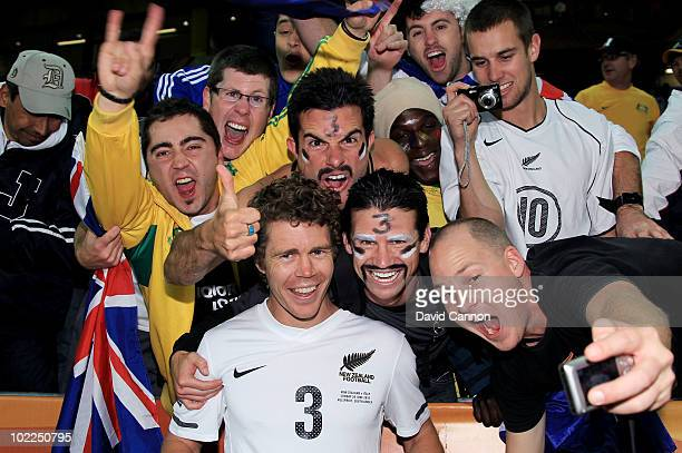 Tony Lochhead of New Zealand celebrates with fans after securing a draw in the 2010 FIFA World Cup South Africa Group F match between Italy and New...