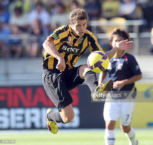 Tony Lochhead of the Phoenix jumps for the ball during the A-League Minor Semi Final match between the Wellington Phoenix and the Newcastle Jets at...