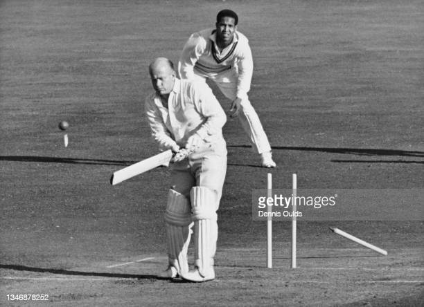 Tony Lock of England is clean bowled middle stump off a delivery by West Indies right arm fast bowler Wes Hall during the second innings of the Fifth...