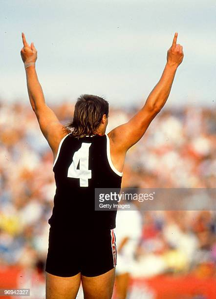 Tony Lockett of the Saints celebrates during the round four AFL match between St Kilda Saints and Hawthorn Hawks 1992 in Melbourne Australia