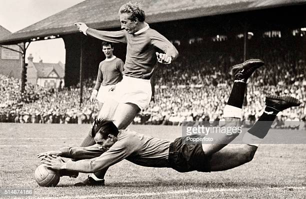 Tony Macedo the Fulham goalkeeper dives full length at the feet of Denis Law the Manchester United insideleft to take the ball during the First...