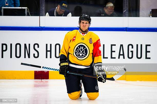 Tony Martensson of HC Lugano during the warmups prior to the Champions Hockey League match between Tappara Tampere and HC Lugano at Hakametsa Stadium...