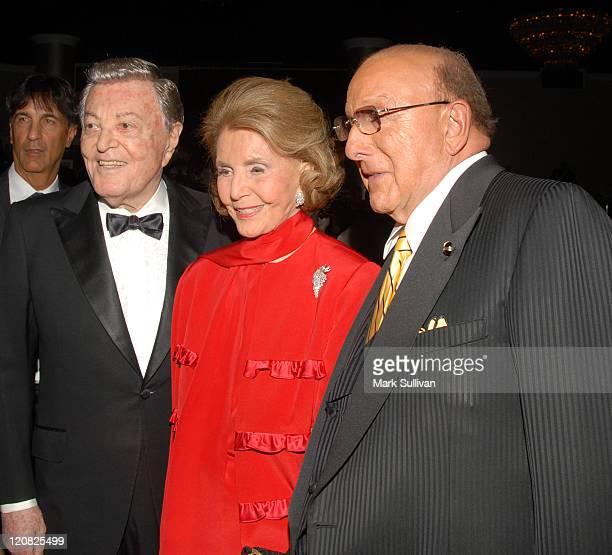 Tony Martin Cyd Charisse and Clive Davis during The Society of Singers Presents the 15th Annual Ella Award to Johnny Mathis Inside at Beverly Hilton...
