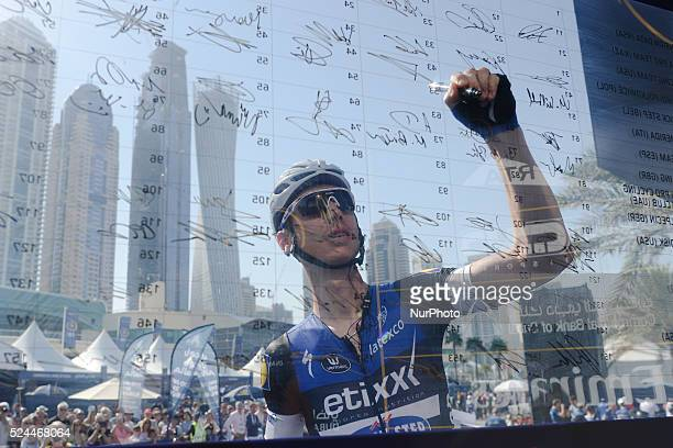Tony Martin from EtixxQuickStep Team ahead of the third stage of the 2016 Tour of Dubai the 172km The Westin Stage from DIMC to Hatta Dam The third...