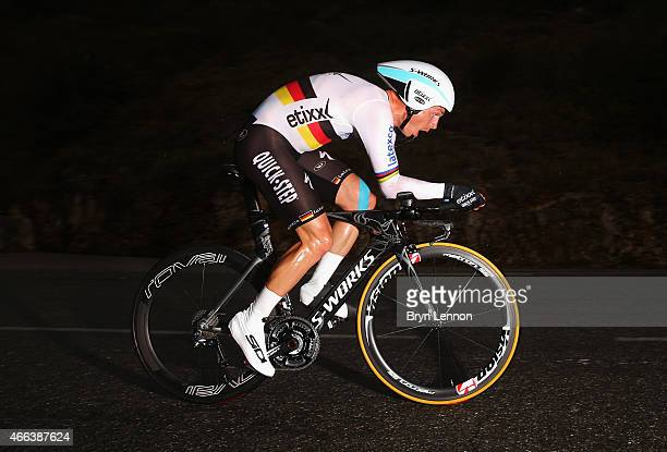 Tony Martin of Germany and EtixxQuick Step competes during stage seven the individual time trial of the Paris Nice cycling race between Nice and Col...