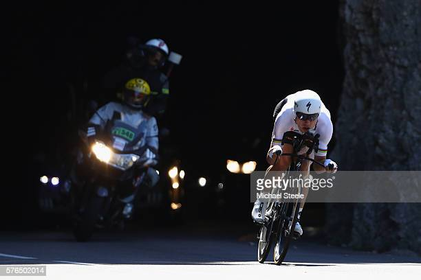 Tony Martin of Germany and EtixxQuick Step during the 37km Individual Time Trial stage thirteen of Le Tour de France from BourgSaintAndeol to La...