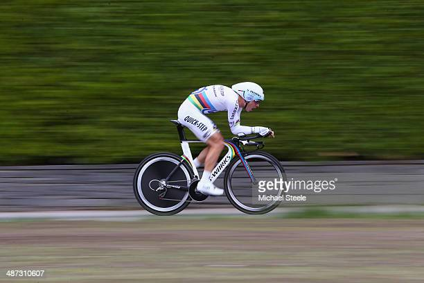 Tony Martin of Germany and Omega PharmaQuick Step on his way to fifth position during the 557km Prologue stage of the Tour de Romandie on April 29...