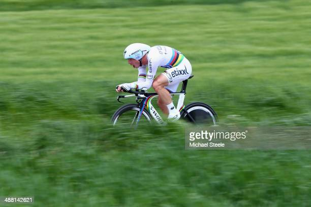 Tony Martin of Germany and Omega PharmaQuick Step on his way to claiming second place during the 185km individual time trial stage five of the Tour...