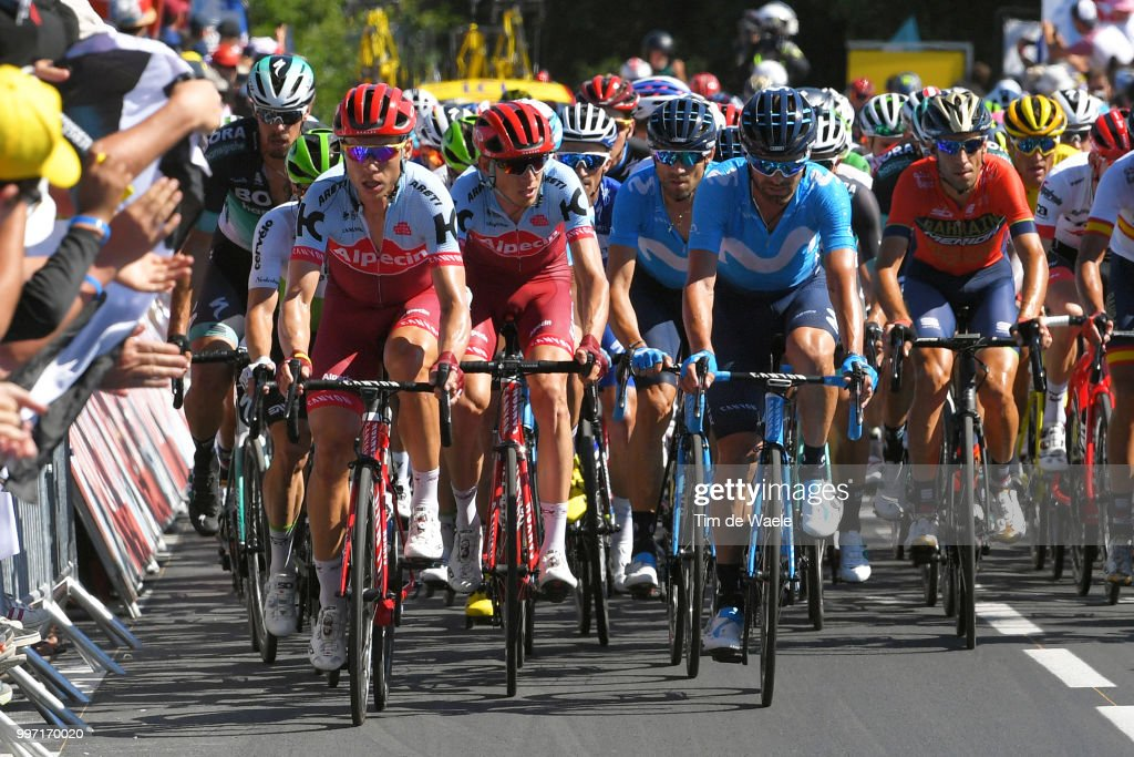 Tony Martin of Germany and Team Katusha / Ilnur Zakarin of Russia and Team Katusha / Alejandro Valverde of Spain and Movistar Team / Jose Joaquin Rojas of Spain and Movistar Team / Vincenzo Nibali of Italy and Bahrain Merida Pro Team / during 105th Tour de France 2018, Stage 6 a 181km stage from Brest to Mur-de-Bretagne Guerledan 293m / TDF / on July 12, 2018 in Mur-de-Bretagne Guerledan, France.