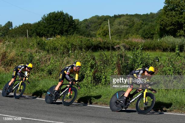 Tony Martin of Germany and Wout Van Aert of Belgium and Team Jumbo - Visma lead their teammates during the 17th Tour of Britain 2021, Stage 3 a...