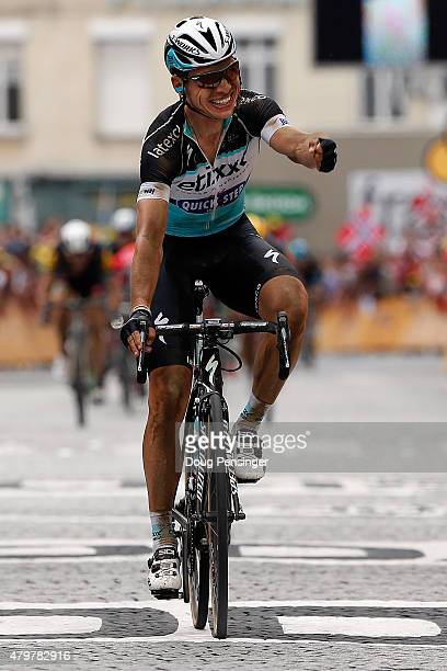 Tony Martin of Germany riding for EtixxQuickStep celebrates as he wins stage four of the 2015 Tour de France from Seraing Belgium to Cambrai France...
