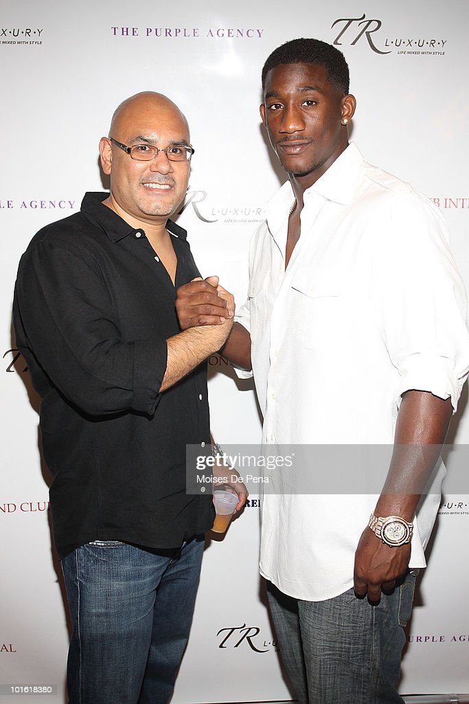 Tony Martinez and NY Giant Antrel Rolle attend his welcoming celebration on June 3, 2010 in New York, New York.
