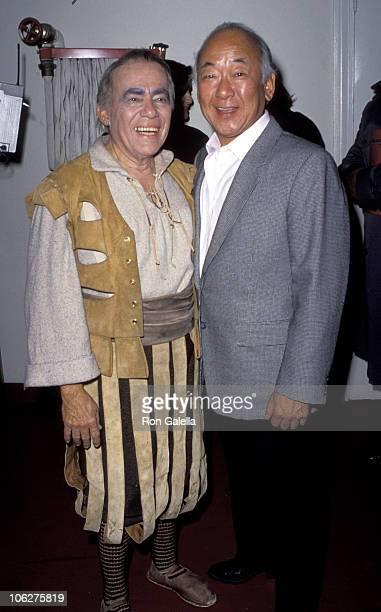 Tony Martinez and Pat Morita during Man of LaMancha Screening at Pantages Theater in Hollywood California United States