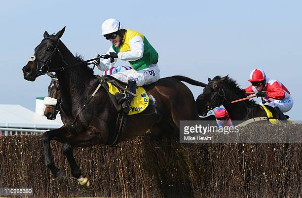 Tony McCoy and Albertas Run clear the last on their way to victory in the Ryanair Chase at Cheltenham Racecourse on St Patrick's Day on March 17 2011...