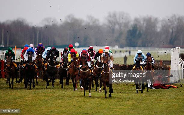 Tony McCoy falls from his mount Goodwood Mirage at the first flight of hurdles in The Betfair Hurdle Race at Newbury racecourse on February 07 2015...