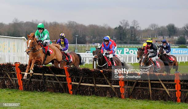 Tony McCoy leads the races first time round on Shotavodka during The Chris Baker's 40th birthday hurdle race at Sandown Park racecourse on February...