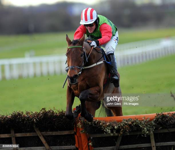 Tony McCoy on Local Hero jumps the last flight before winning the Subscribe to Racing UK Juvenile Maiden Hurdle race at Wetherby Racecourse