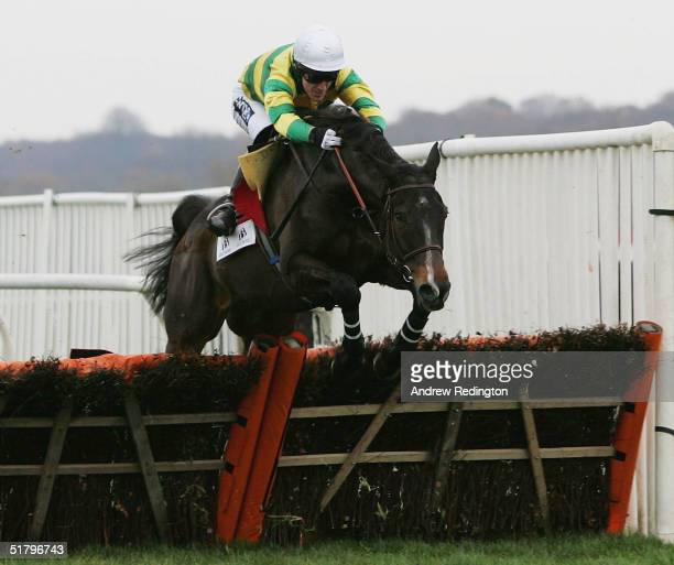 Tony McCoy rides Baracouda to victory in The Ballymore Properties Long Distance Hurdle Race at Newbury racecourse on November 27 2004 in Newbury...