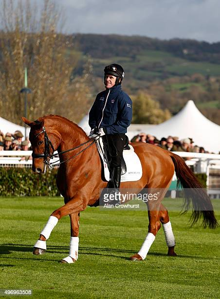 Tony McCoy riding Barolo in a dressage presentation at Cheltenham racecourse on November 13 2015 in Cheltenham England