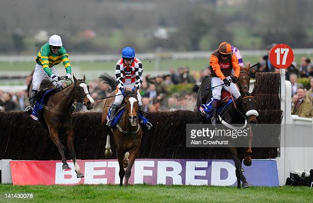 Tony McCoy riding Synchronised clear the last to win The Betfred Cheltenham Gold Cup Steeple Chase from The Giant Bolster and Long Run at Cheltenham...