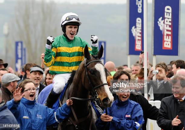 Tony McCoy riding Synchronised win The Betfred Cheltenham Gold Cup Steeple Chase at Cheltenham racecourse on March16 2012 in Cheltenham England
